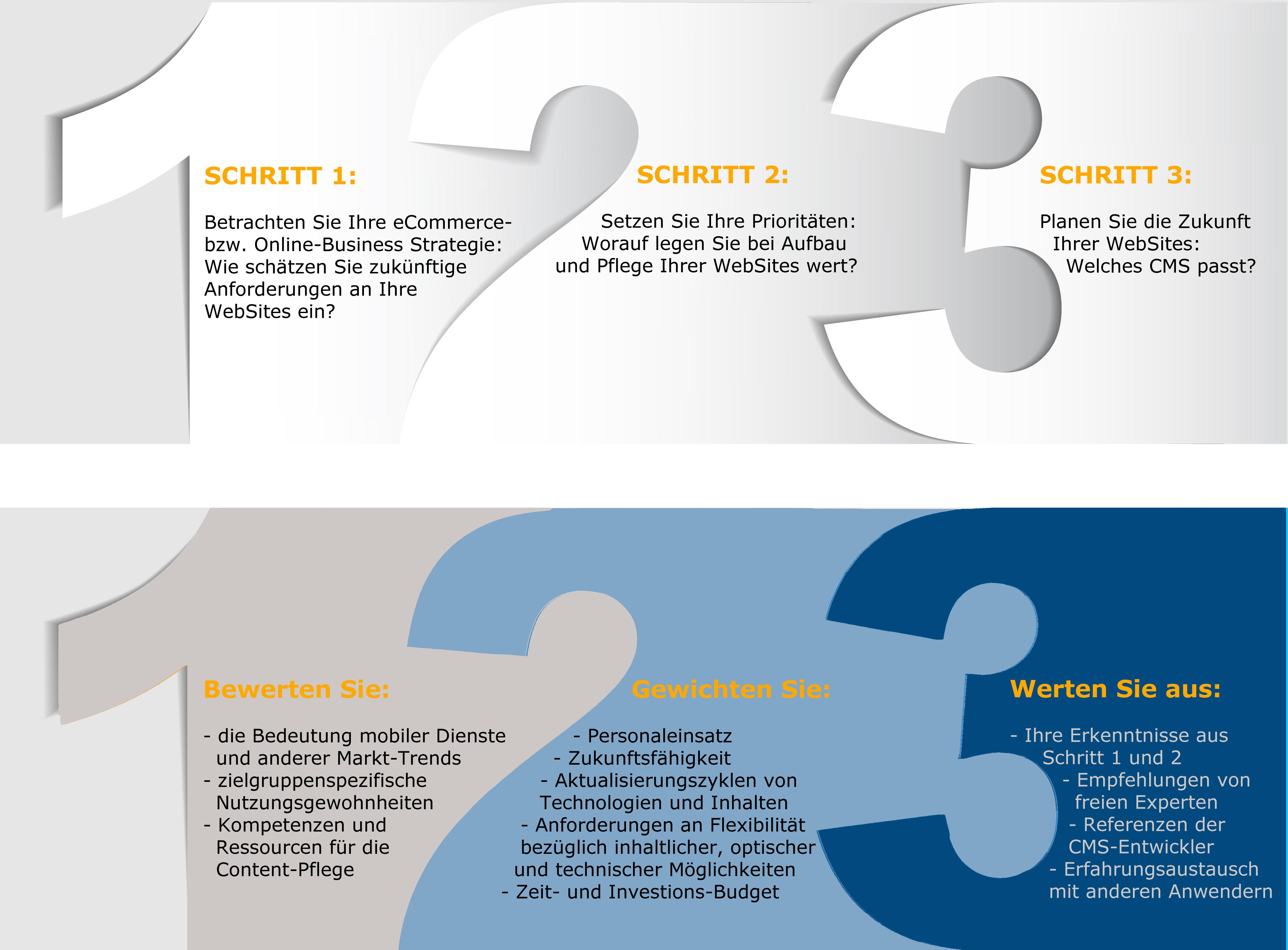 Drei Schritte zur Entscheidung für das passende CMS